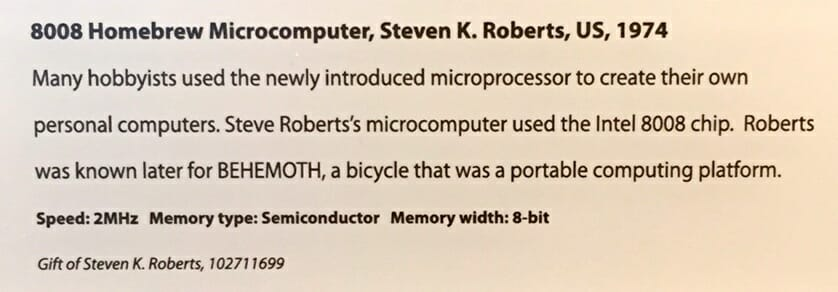 The sign under my 8008 system in the Computer History Museum