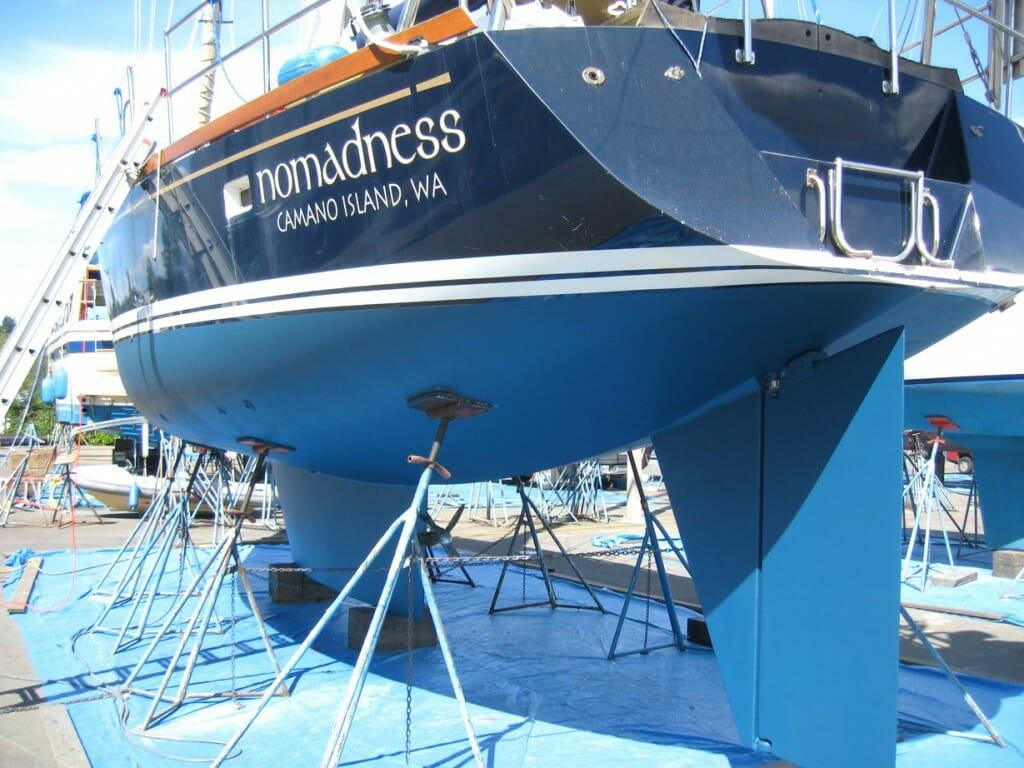 View of Nomadness during 2010 haulout
