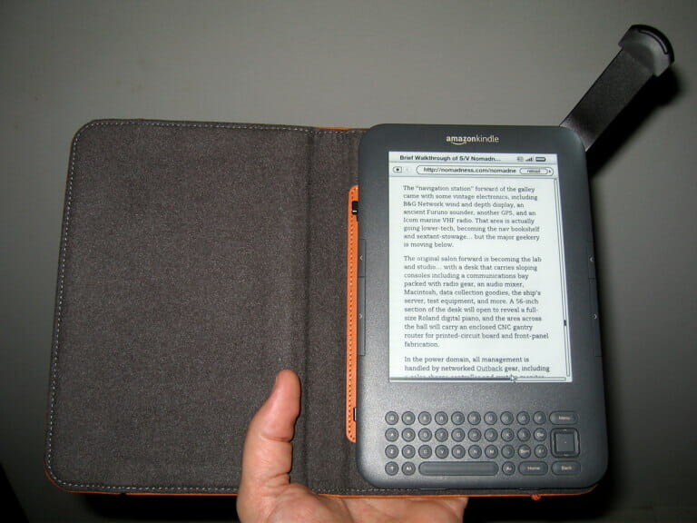 Kindle in case with light extended