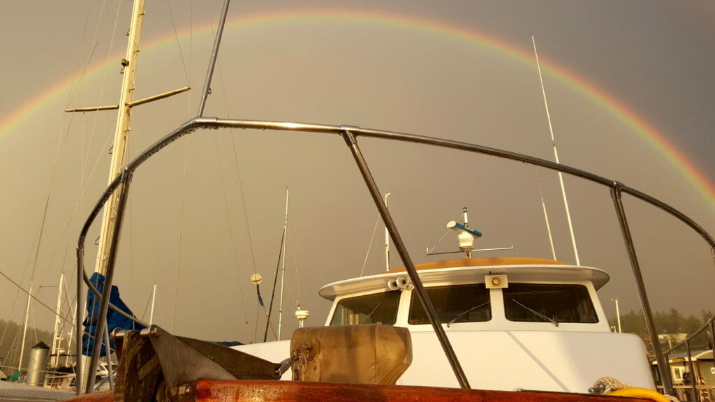 The rainbow framing my bow pulpit...