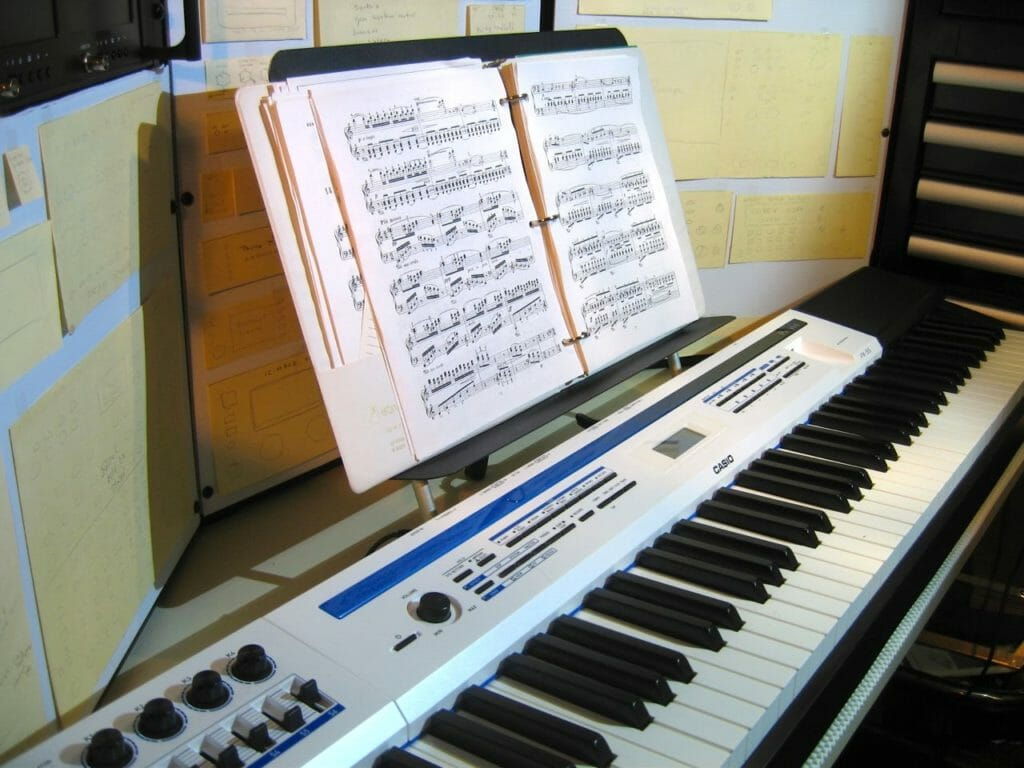 music-stand-in-use